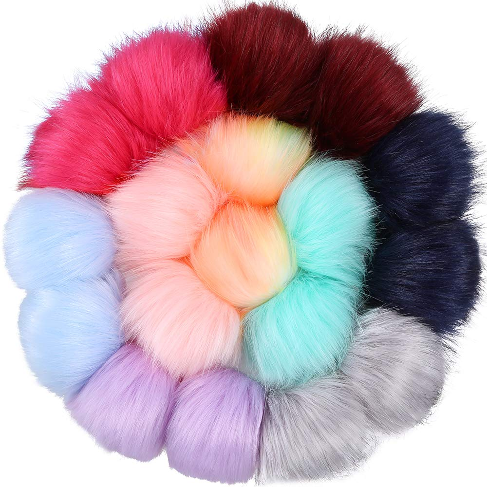 Auihiay 18 Pieces Colorful Faux Fur Fluffy Pompom Ball with Rubber Band for Hat Shoes Scarves Bag Charms (Mix Bright Color)
