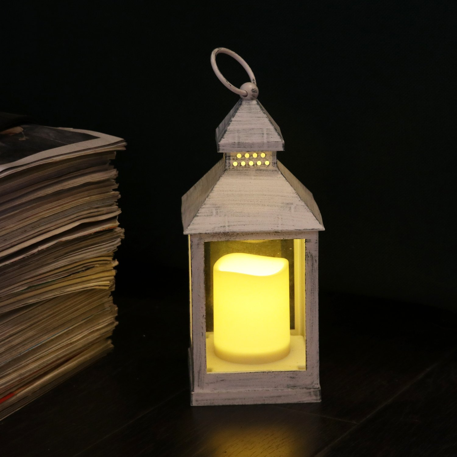 Antique White Lantern with Led Candle for Wedding, Battery Operated Garden Lantern for Indoor and Out Door Use - H24 Centimeter Rhytsing TS1013
