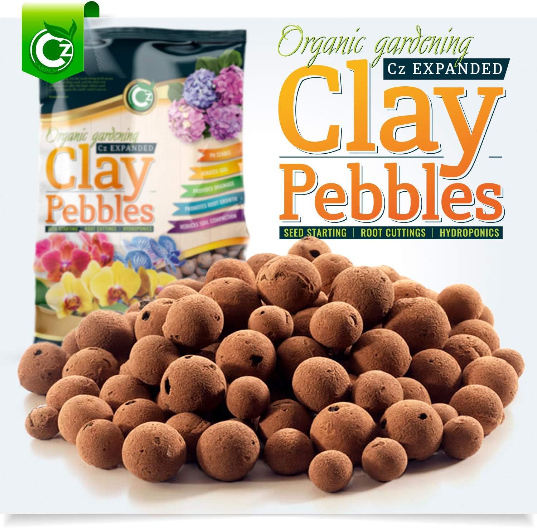 Organic Expanded Clay Pebbles Grow Media - Orchids • Hydroponics • Aquaponics • Aquaculture Cz Garden (10 LBS Organic Cz Garden Expanded Clay Pellets)