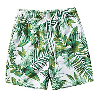 585757056096a ZRICKIE Mens Swim Trunks Printed Fixed Waist Boardshorts with Mesh Lining