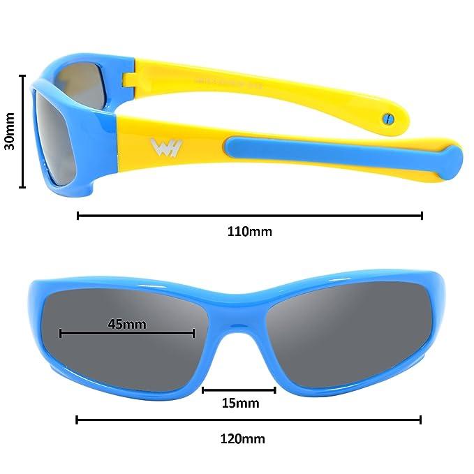 Kinder Wrap Sport Polarisierte Sonnenbrille von WHCREAT Flexibel Gummirahmen mit Anti-Rutsch Band für Mädchen Jungen Alter 3-6 - Matt-schwarz Rahmen Schwarz Linse 4VaWmx