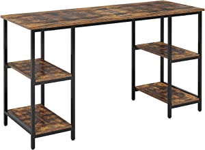 Function Home 55 Inch Computer Desk with Storage Shelves, Writing Desk for Home Office and Bedroom, Industrial Style, Rustic Brown and Black Finish