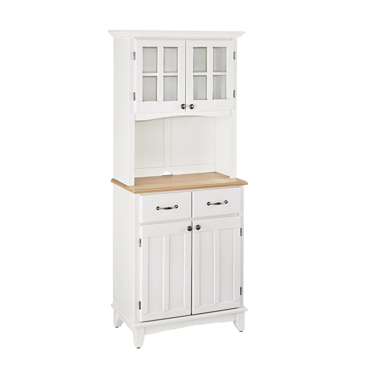 Home Styles 5001-0021-12 Buffet of Buffet 5001 Series Wood Top Buffet Server and Hutch, White Finish