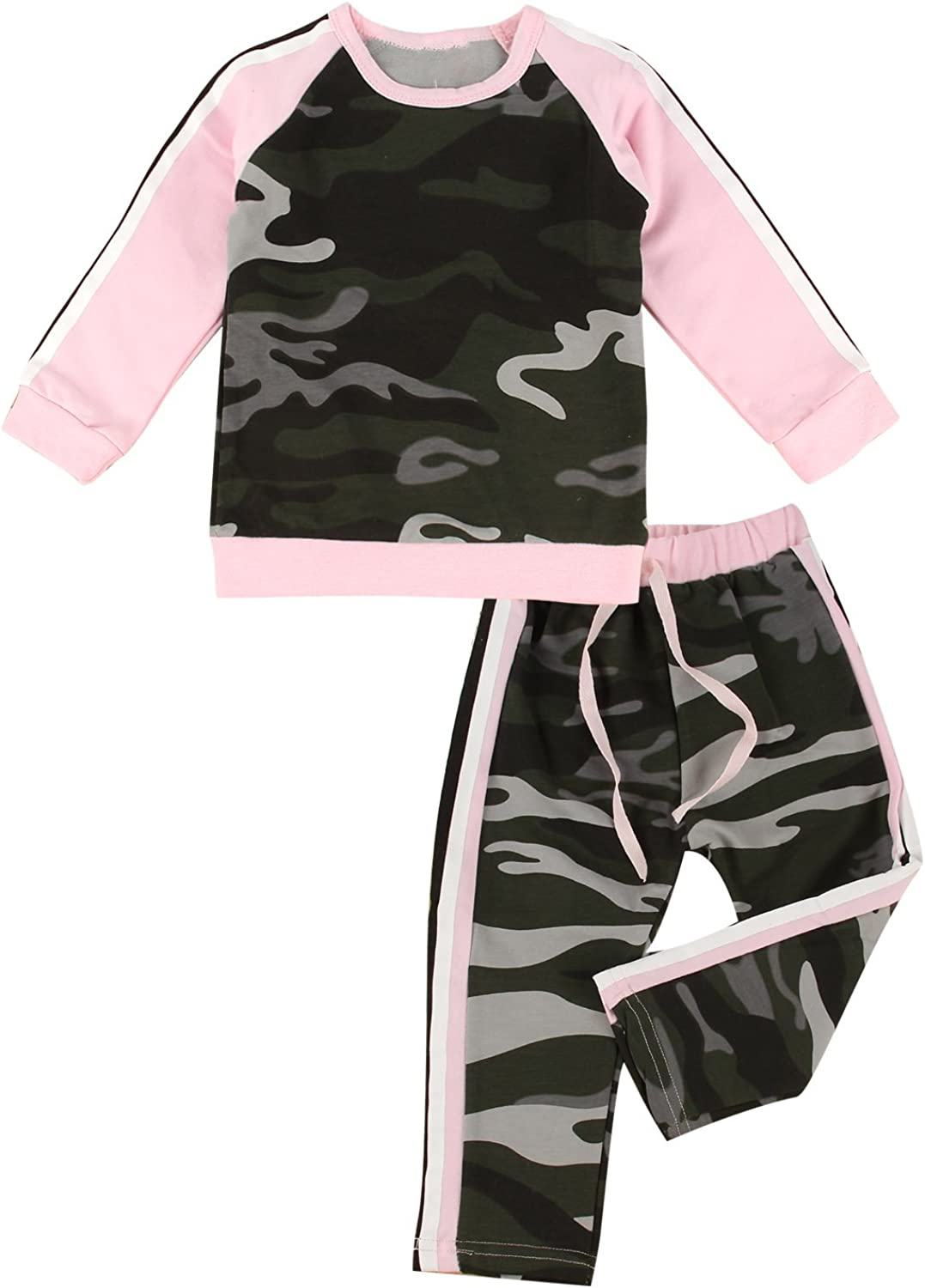 puseky Toddler Baby Girls Camouflage Long Sleeve Shirt & Pants Tracksuit Outfits Set