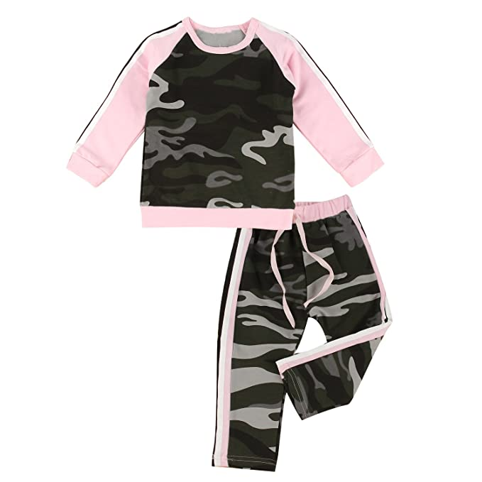 b565609d935 puseky Baby Girl Camouflage Long Sleeve Shirt+Pants Tracksuit Outfit Sports  Suit  Amazon.co.uk  Clothing