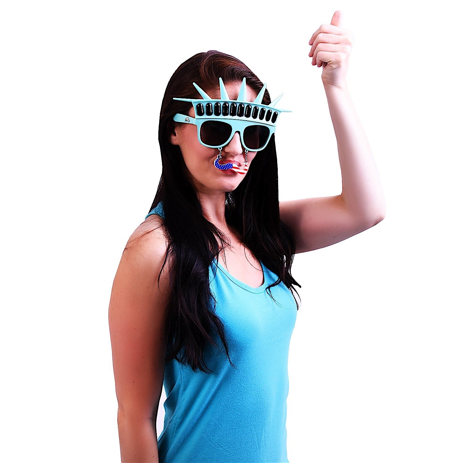 Party Favors Instant Costume Sunstaches Statue of Liberty with Black Mustache Sunglasses UV400 Distributed by H2W Statue/_liberty