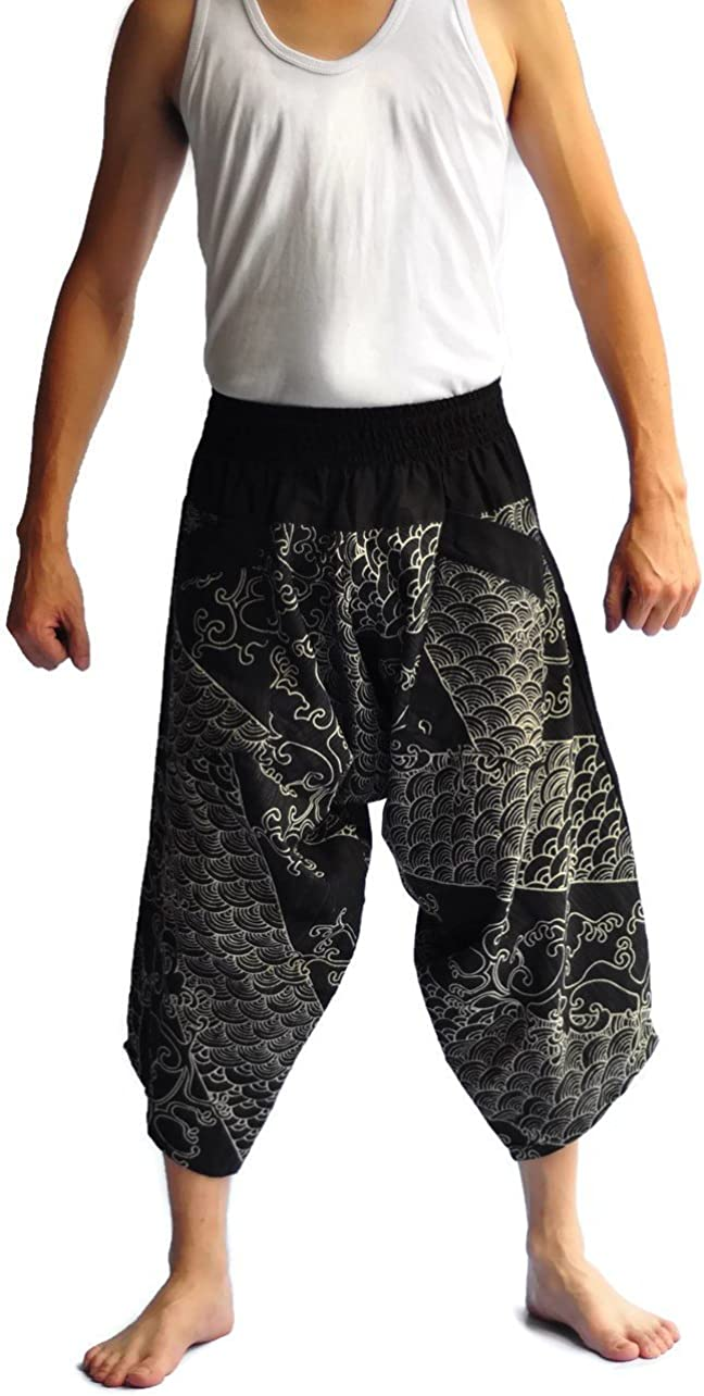 Siam Trendy Mens Japanese Style Pants One Size Black Dragon sea
