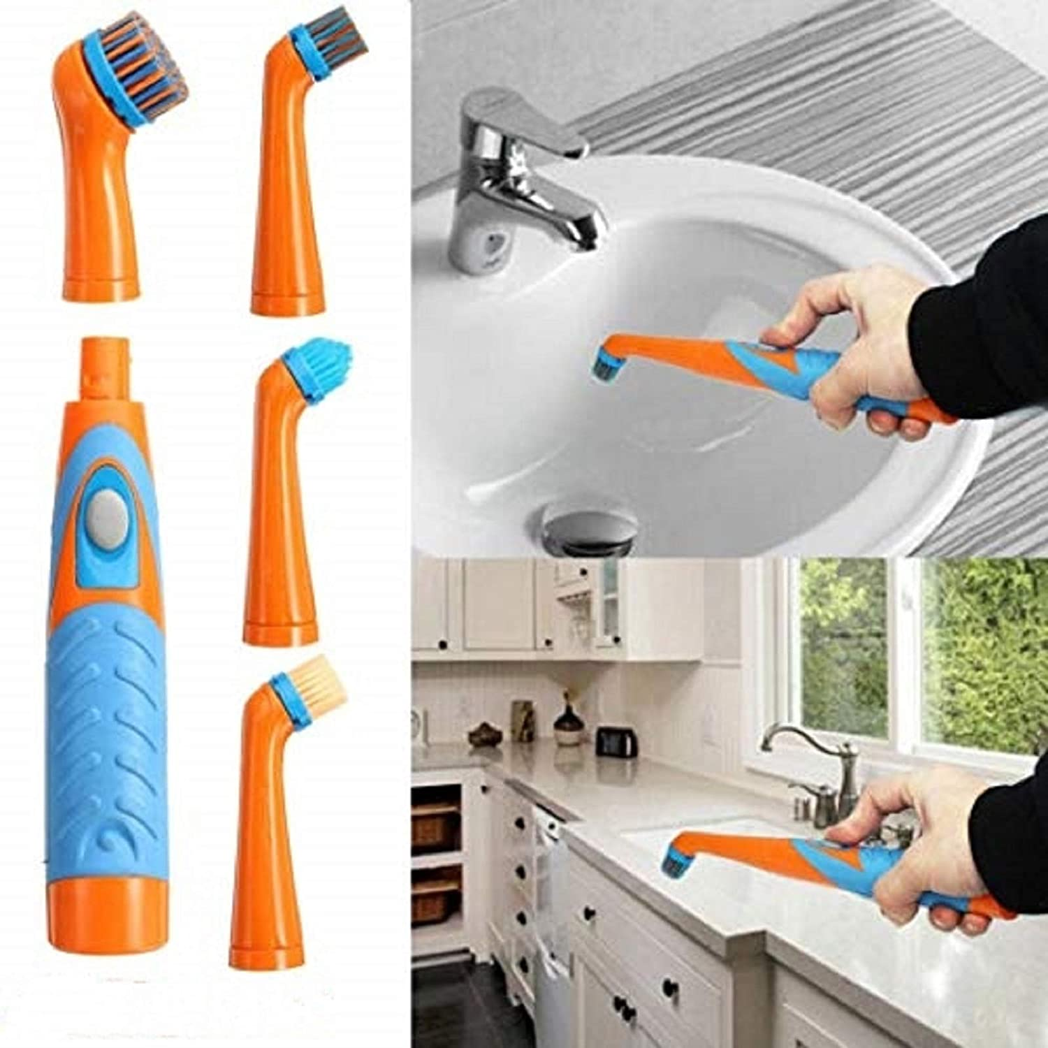 4 in 1 Electric Super Sonic Scrubber Cleaning Brush Home Bathroom Kitchen Tool C