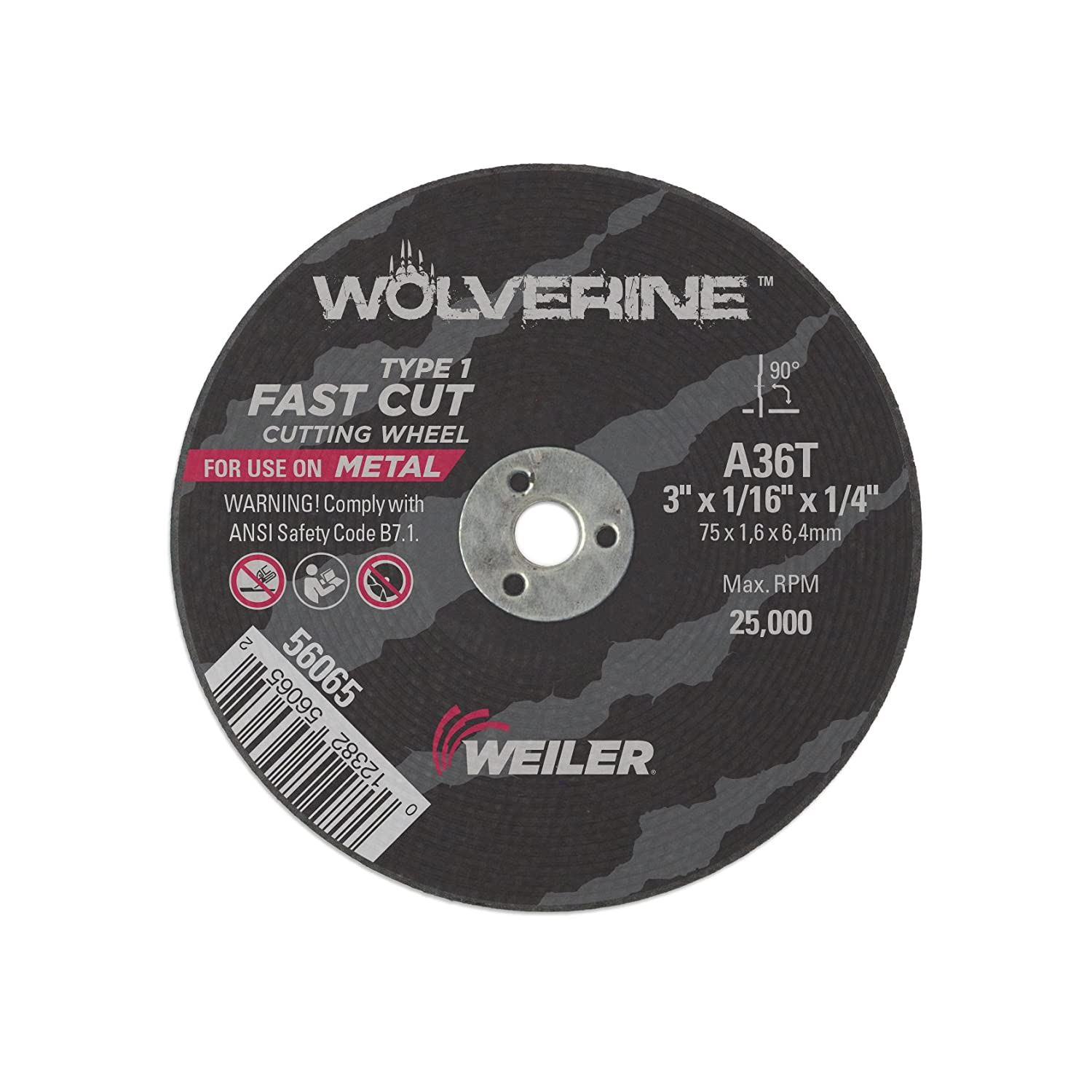 1//4 A.H. A36T Pack of 100 Weiler 56065 3 x 1//16 Wolverine Type 1 Cutting Wheel