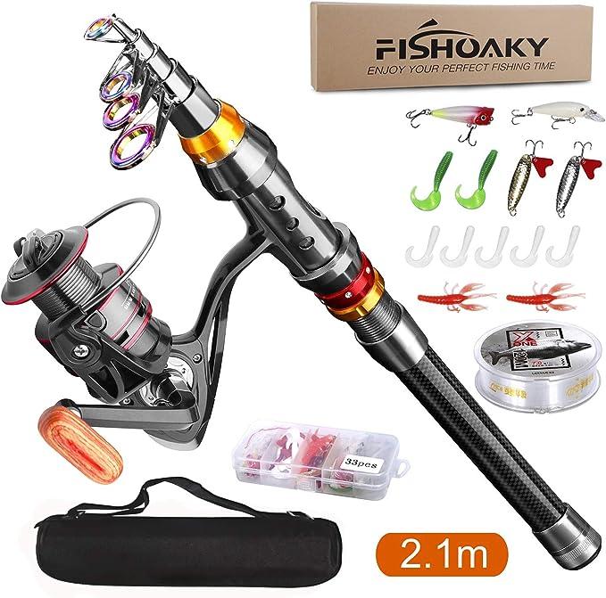 FISHOAKY Combo de Caña de Pescar y Carrete, 2.1M Fibra de Carbono ...