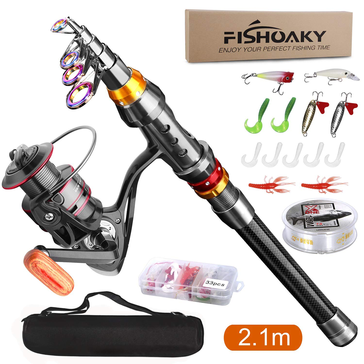 FISHOAKY Fishing Rod kit, Carbon Fiber Telescopic Fishing Pole and Reel Combo with Line Lures Tackle Hooks Reel Carrier Bag for Adults Travel Saltwater Freshwater