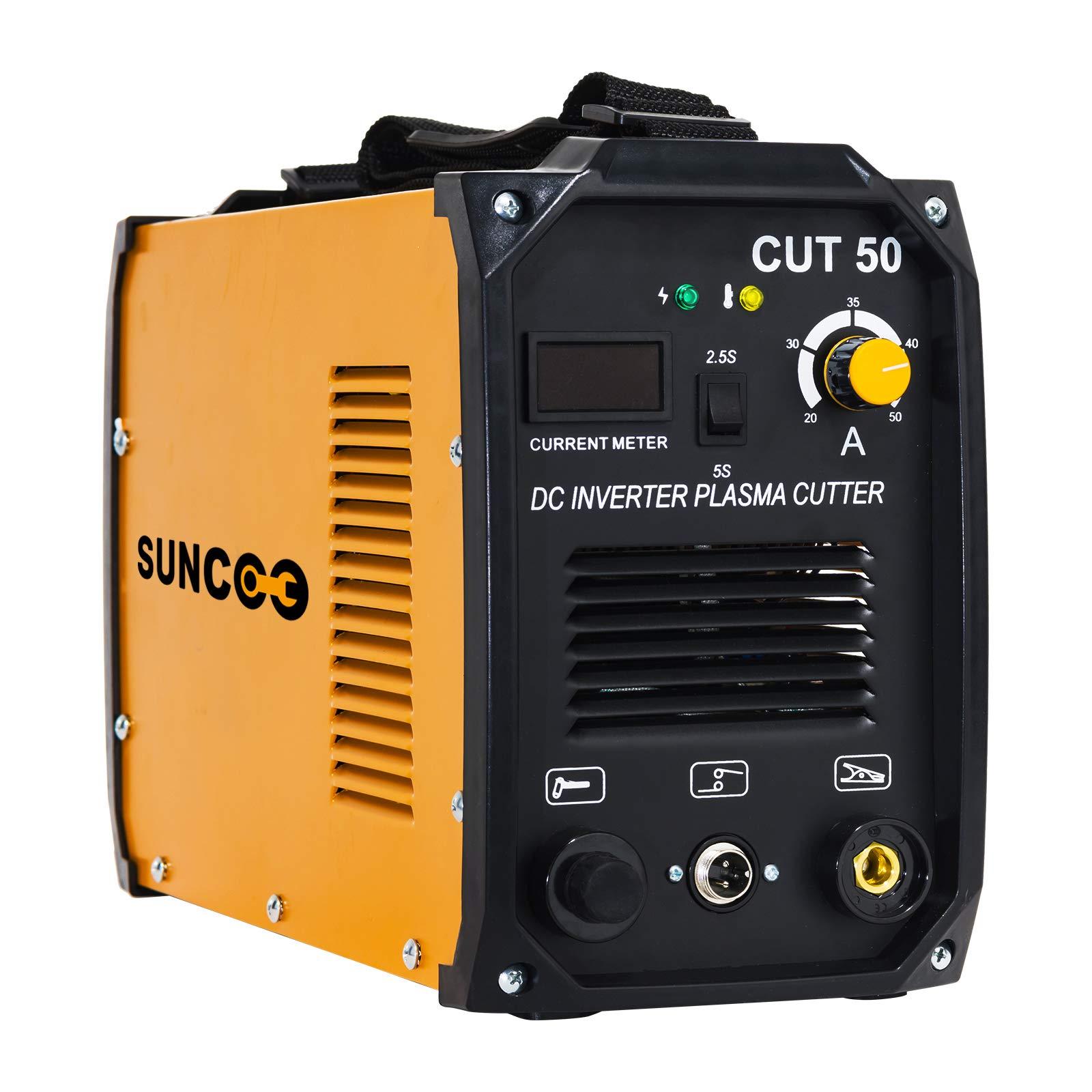 SUNCOO Cut 50 Plasma Cutter Electric DC Inverter Cutting Machine with Digital Display Dual Voltage 110/220V, 1/2'' Clean Cut