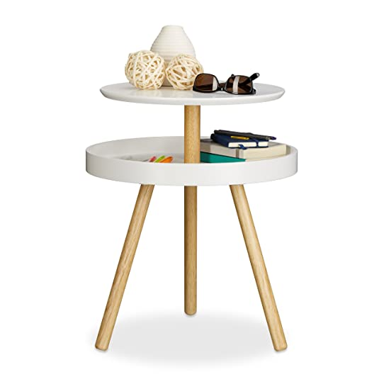 relaxdays table dappoint ronde avec surface rangement en bois 3 pieds canap console hxlxp - Table D Appoint Ronde