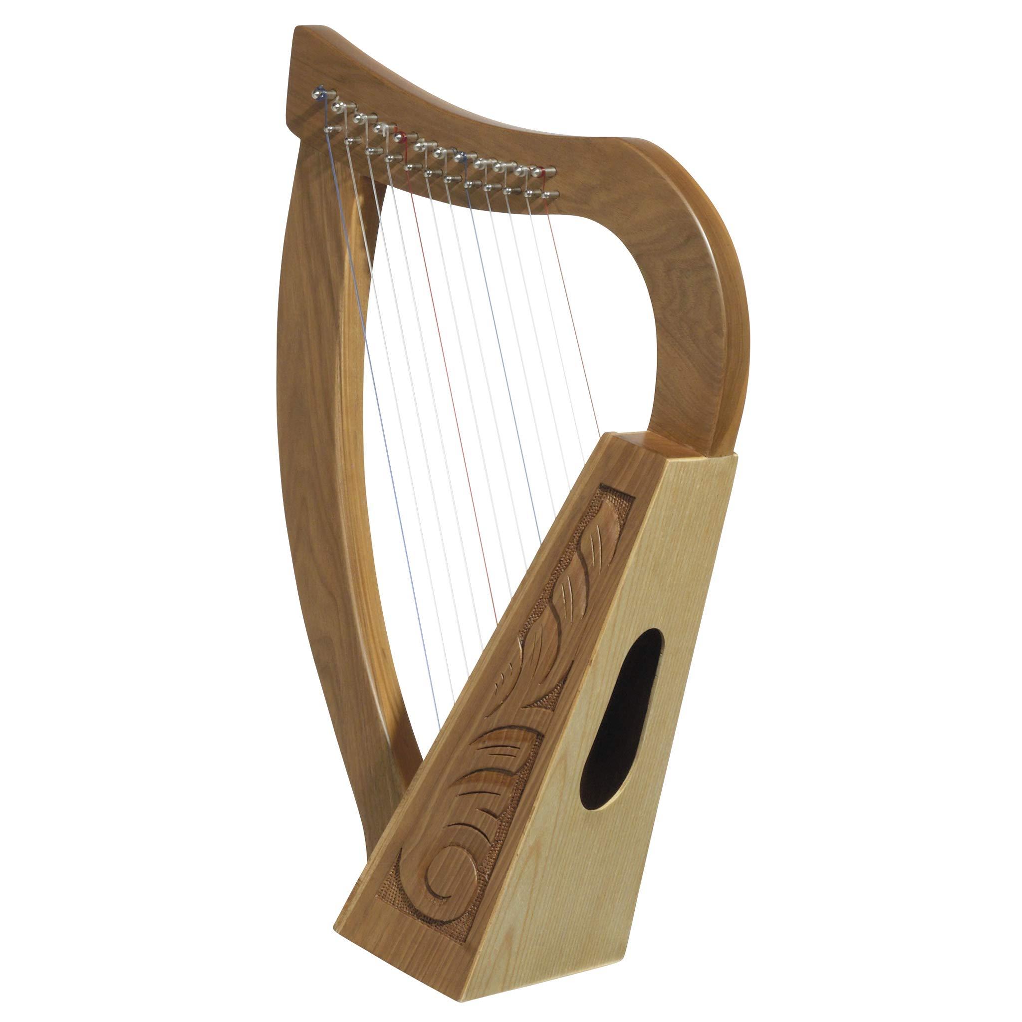 Design Toscano Celtic Knot Walnut Tara Harp Instrument and Display, 20 Inch, Walnut and Birch Wood, Natural by Design Toscano