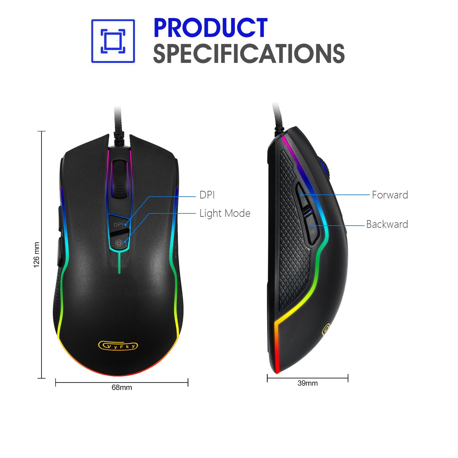 Mua sản phẩm VyFky Wired Gaming Mice, 4000 DPI Programmable High