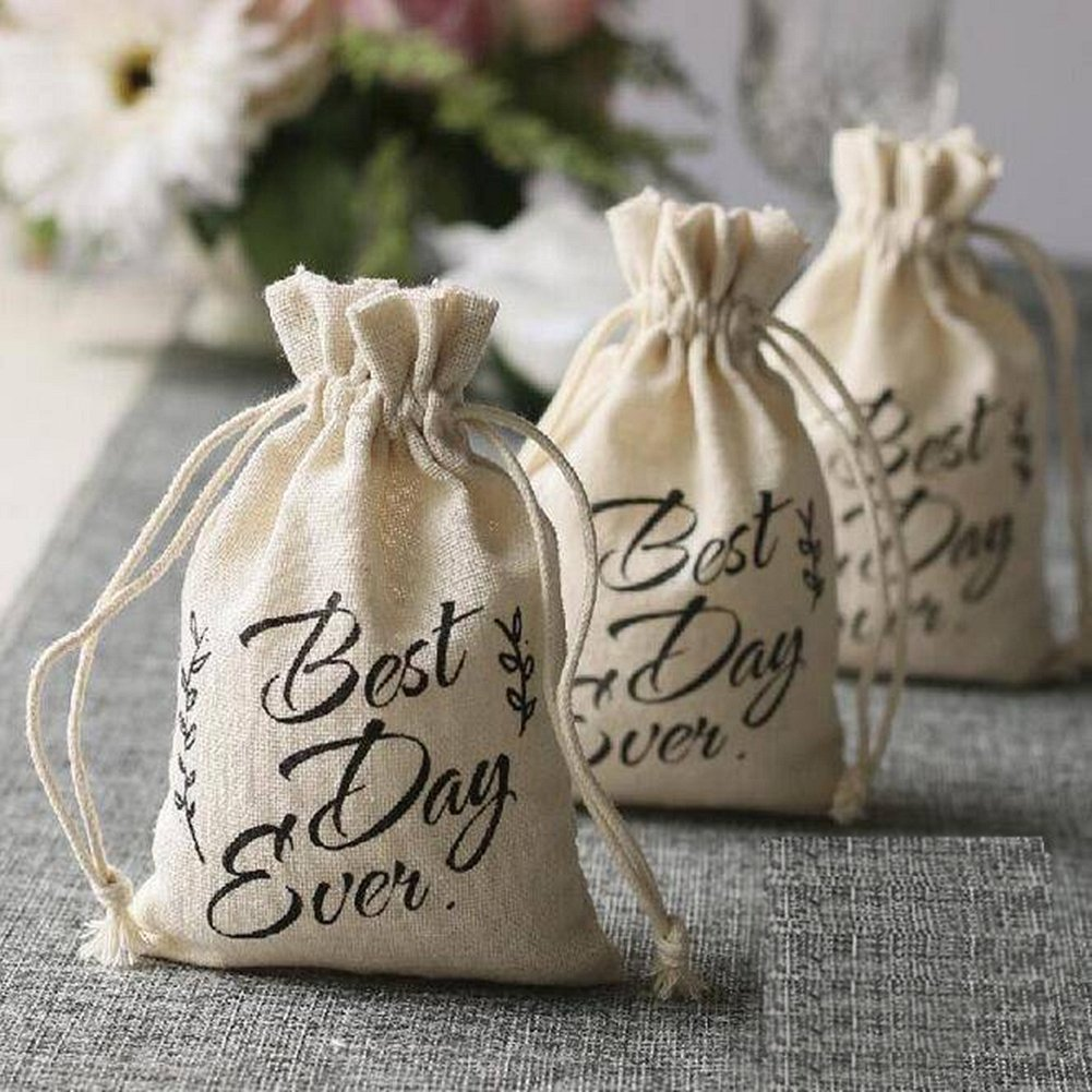OZXCHIXU Cotton Wedding Party Favor Bags 4x6 inch Printing Best Every Day with Drawstring Hangover Kit Bags Environmental Washable and Recyclable (20) by OZXCHIXU