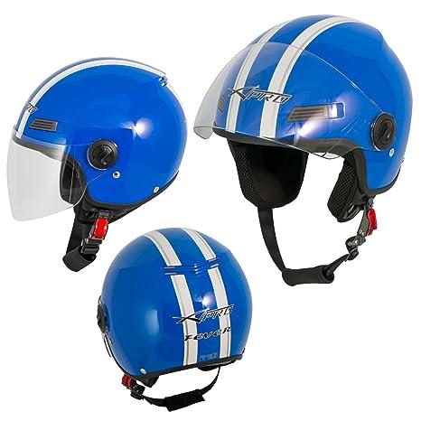 A-Pro Motorradhelm Motorrad Roller Offenes Jet Helm Viser ECE 22 05 Rosa M