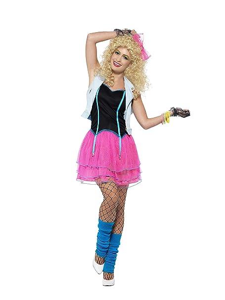 Ladies Pink Neon 80 s Wild Child Girl Fancy Dress Costume  Amazon.it ... 030f14f4cb0