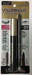 L'Oreal Paris Voluminous Original Mascara, Carbon Black, 0.28 Fluid Ounce with a Black eye liner