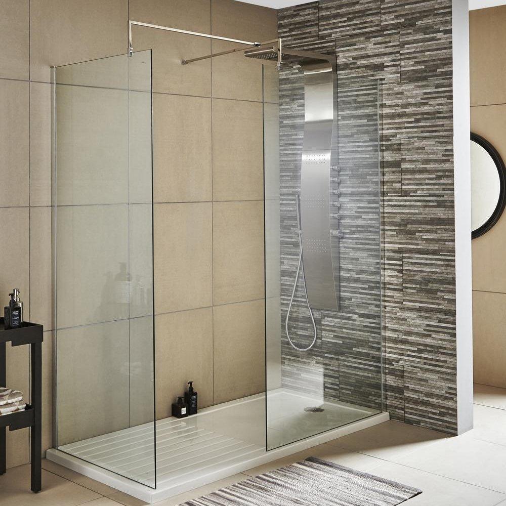 Home Standard® 215mm x 1850mm Wetroom Return Screen | 8mm Toughened Safety Glass