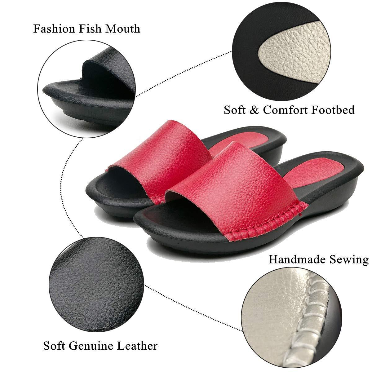 Yooeen Mules en Cuir Femme /Ét/é Mode Sandales Bout Ouvert Plates Compens/ées Pantoufles dint/érieur et ext/érieur Chaussons de Plage Confortables Chaussures d/ét/é