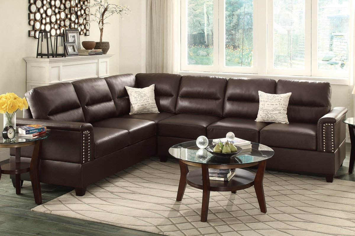amazoncom poundex f7859 bobkona parrish bonded leather left or right hand reversible sectional espresso kitchen u0026 dining