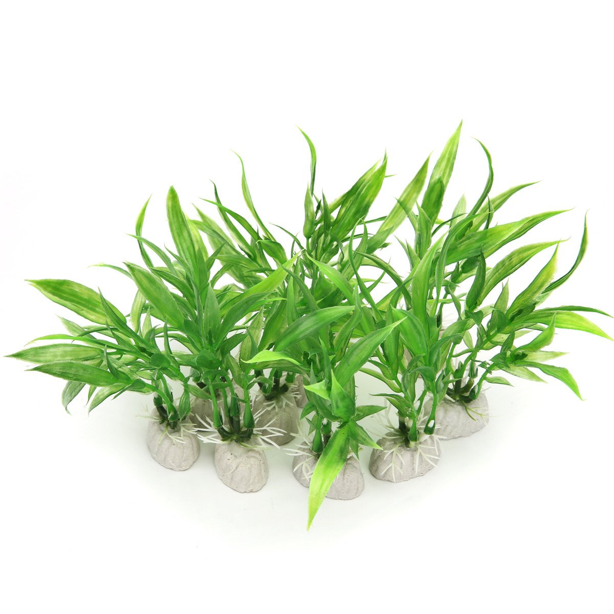 10 Pack Artificial Aquarium Plants, Small Size 4 inch Approximate Height Comsun Fish Tank Decorations Home Décor Plastic
