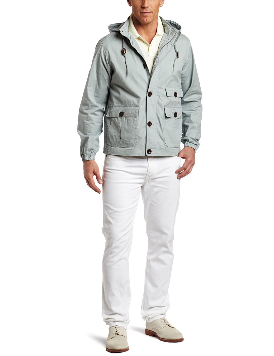 FARAH Men's The Hanway Button Up Jacket Eggshell Large Farah Mens FESR0008