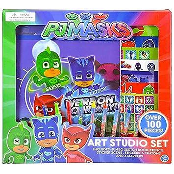 Disney PJ® Masks Art Studio Set Cuaderno de dibujo, ceras, pegatinas y marcadores