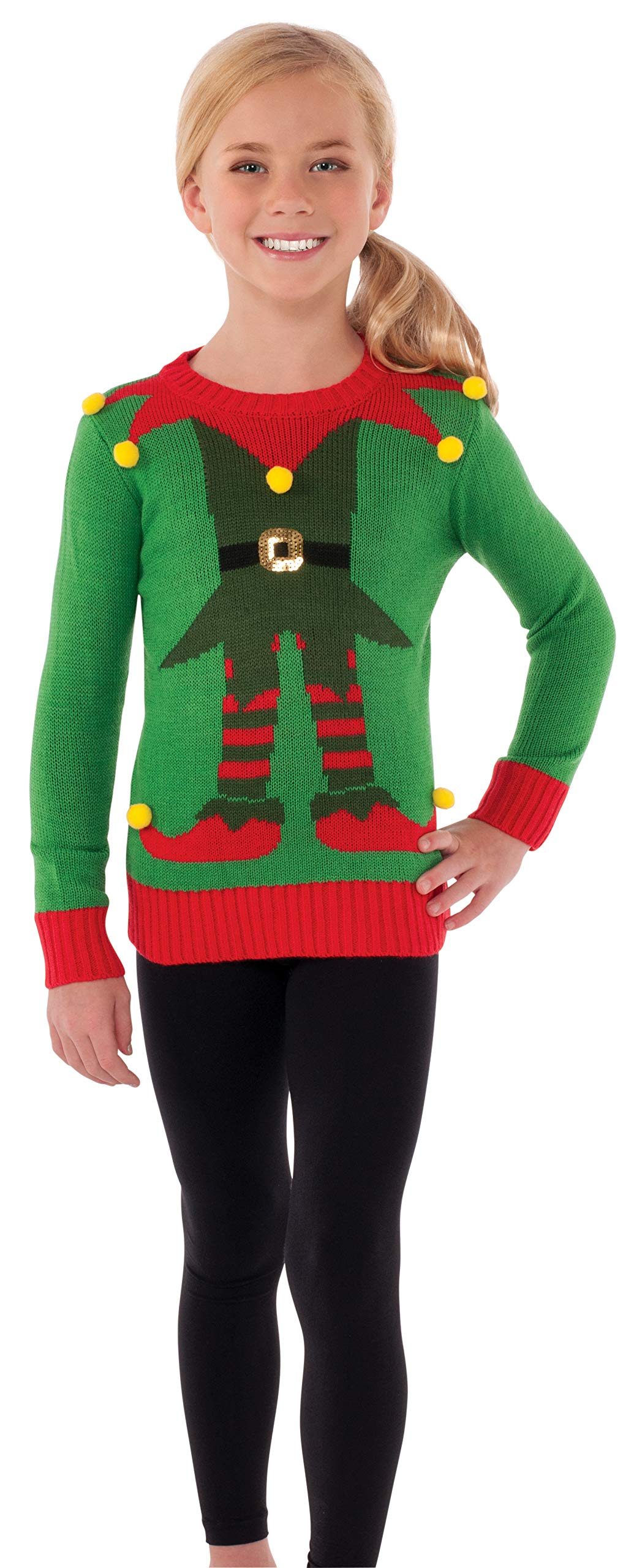 Rubie's Costume Green Elf Ugly Christmas Sweater Costume, One Color, Medium