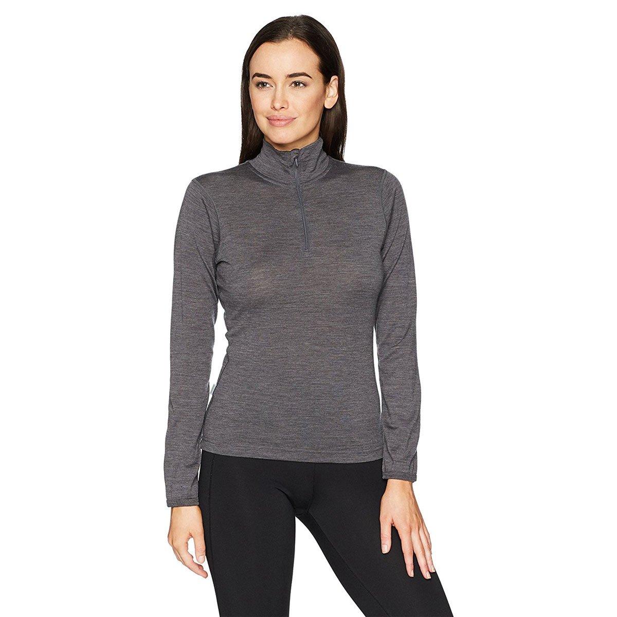 Minus33 Merino Wool Women's Liberty Lightweight 1/4 Zip, Charcoal, Medium