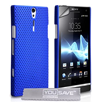 the latest 77ca1 b5efd Sony Xperia S LT26i Case Blue Mesh Hard Back Cover With: Amazon.co ...