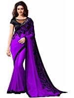 Tryme Fashion Women's Georgette Saree with Blouse Piece - TRY.Fab Saree 165_Purple