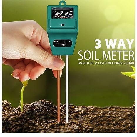 3 en 1 Medidor Probador del suelo para jardín césped planta maceta de humedad luz PH