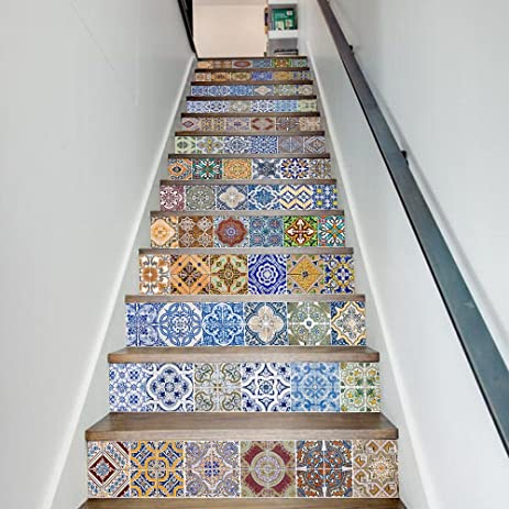 Uphome 13 PCS 3D Antique Tiles Pattern Self Adhesive Stair Stickers  Removable Waterproof Wall Stickers