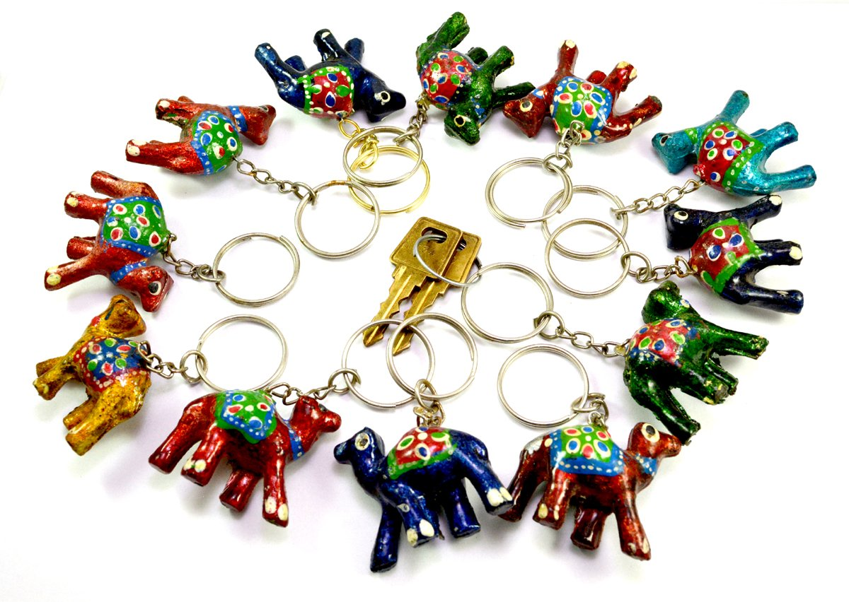 A Set of 12 Hand Carved Wooden Camel Key Ring,keychain, Key Holder Keychain