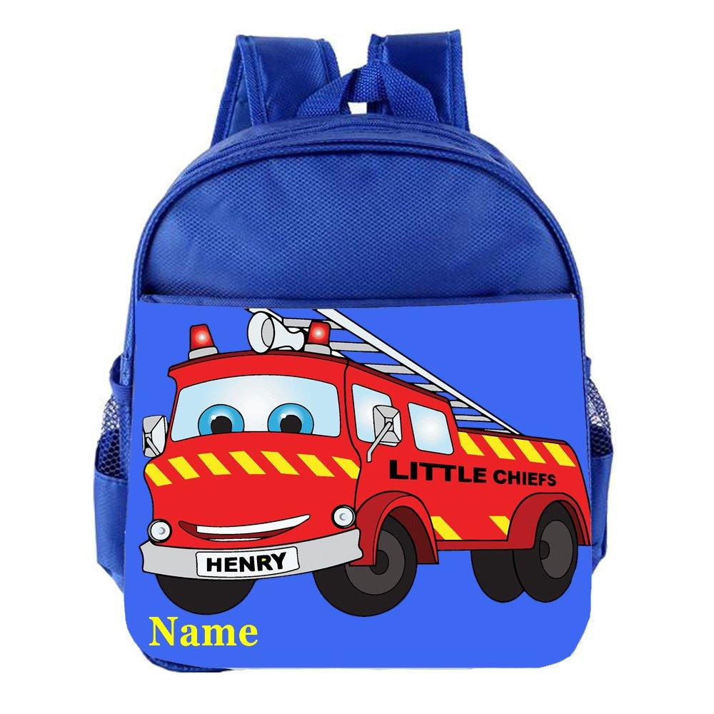 Fire Engine Personalised Customised Kids Toddlers Nursery School Bag Backpack