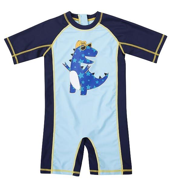 94ea097493e64 ATTRACO Baby Boys Dinosaur Short Sleeve one Piece Rash Guard Swimsuit 3t