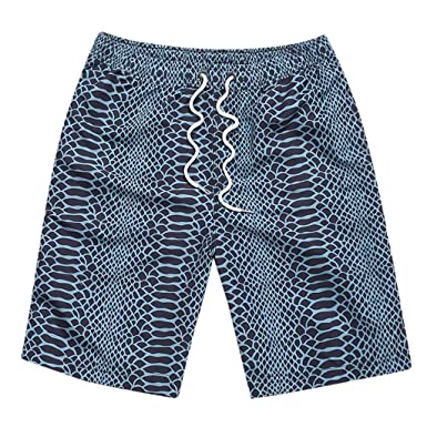 8251ae595a POHOK Men Shorts Men Summer Print Trunks Elastic Band Drawstring Short  Quick Dry Beach Surfing Running