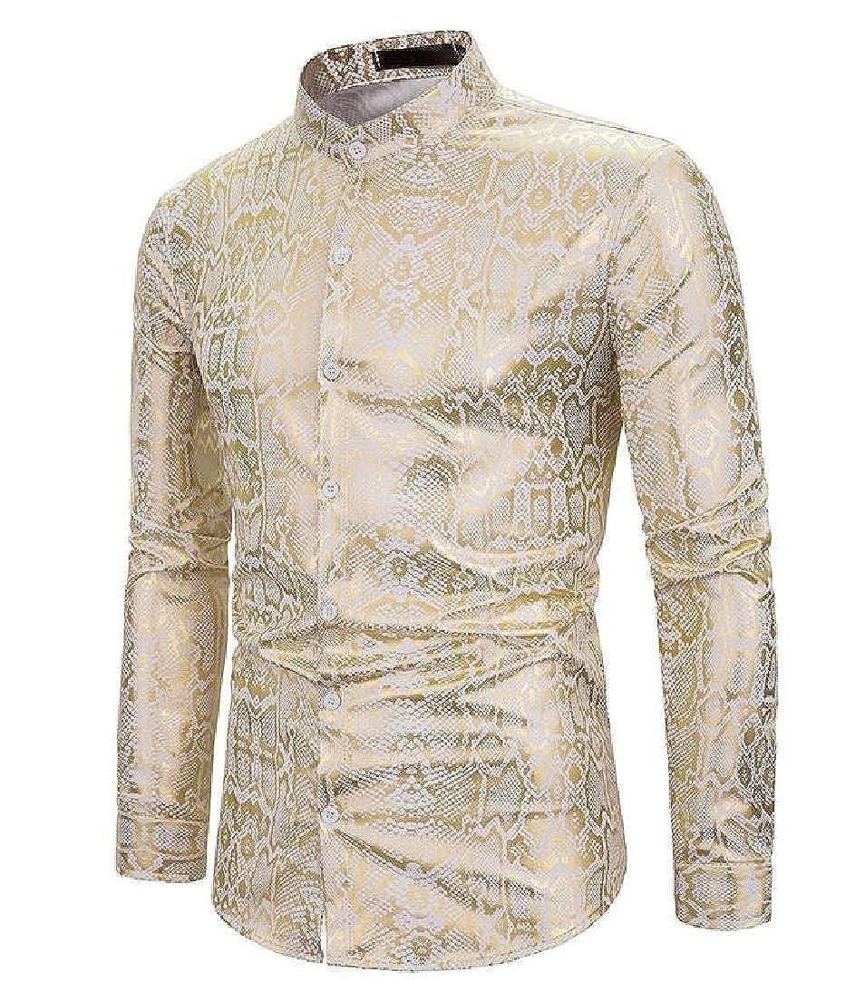 pipigo Mens Button Regular-Fit Long Sleeve Printed Luxury Gold Shirt