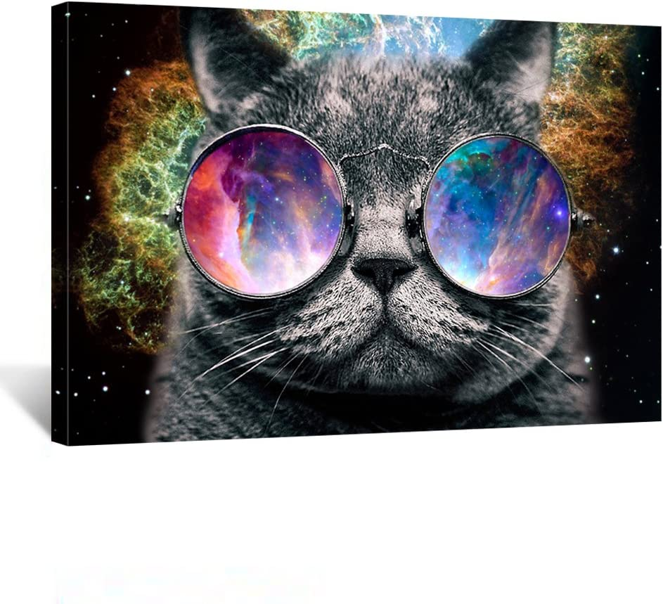 Creative Art - Canvas Prints Wall Art Space Glasses Cat Funny Art Poster Print on Canvas Modern Wall Decor Home Decoration Stretched Canvas Giclee Print Ready to Hang (Space)