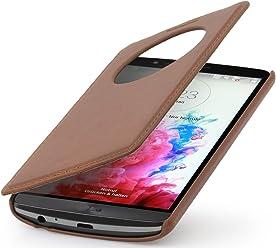 StilGut Book Type Case V2, custodia in vera pelle con apertura a libro per LG G3 - con finestra per quick circle, cognac