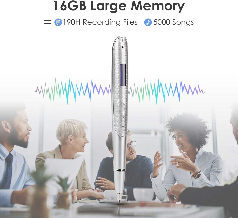 grabadora activada por voz oculta Pluma Mini sonido Audio Recargable DSP de 16 GB Reducci/ón de ruido Grabadora de voz digital