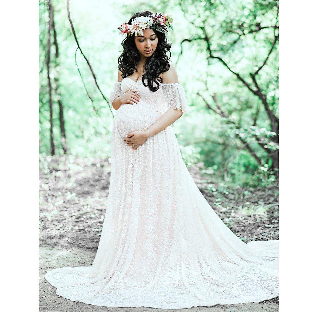 ecdc848c3b4 K-youth® Vestidos Mujer Fiesta Largos Boda Mujer Embarazada Encaje Manga  Corta Floral Vestido de ...