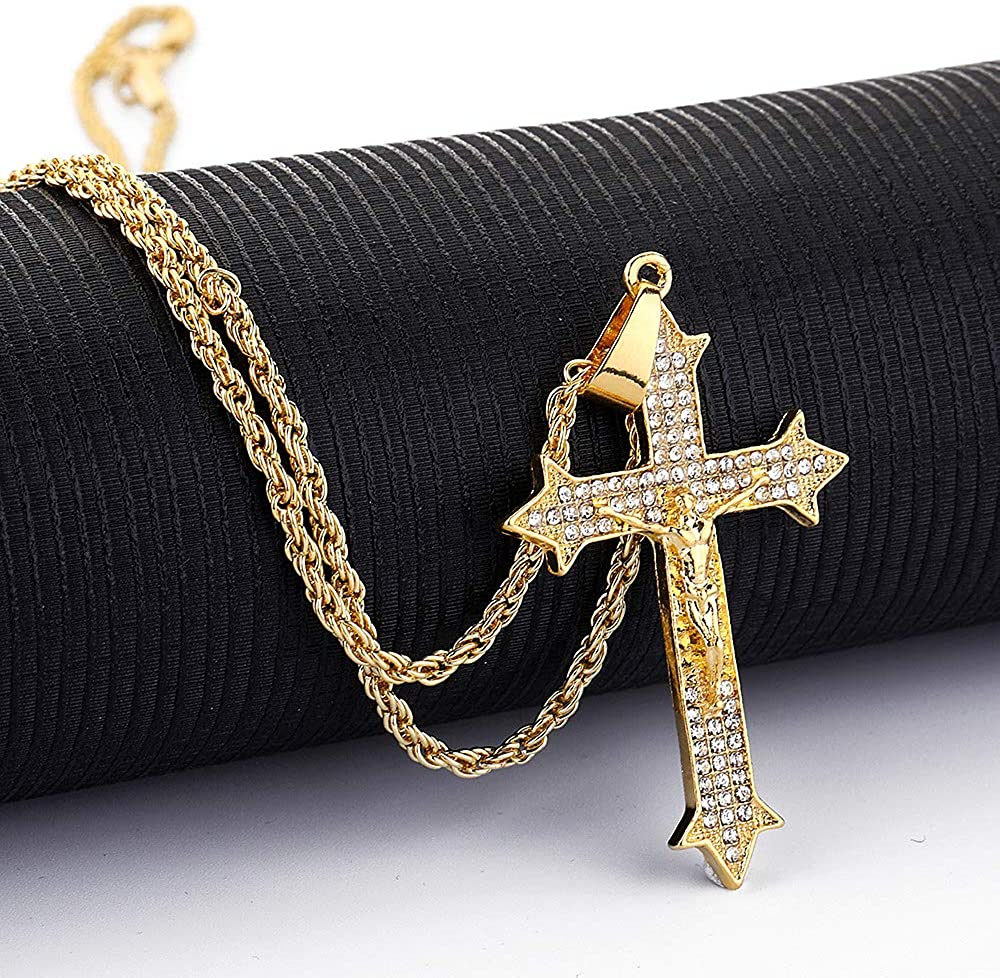 Jack-F Catholic Jesus Christ on INRI Cross Necklace Gold Plated Crucifix Bible Prayer Pendant Necklacen for Men Women