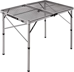 REDCAMP Aluminum Folding Grill Table for Camping, Adjustable Height Lightweight Portable Outdoor Grill Stand Table for Outside Picnic BBQ Beach,