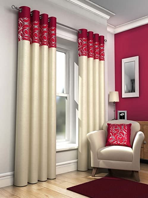 Red Retro Lined Eyelet Curtains, Faux Silk, Skye, 90x90 by Ideal ...