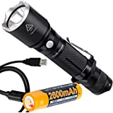 Fenix TK15UE (TK15) Ultimate Edition 1000 Lumen Tactical LED Flashlight Plus Fenix Rechargeable Battery with Built-in Micro-USB Charge Port and LumenTac USB Cable