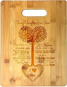 To My Daughter-in-Law Tree Heart Rainbow Sweet Sayings Mother's Day Laser Engraved Bamboo Cutting Board - Wedding, Housewarming, Anniversary, Birthday, Christmas, Gift