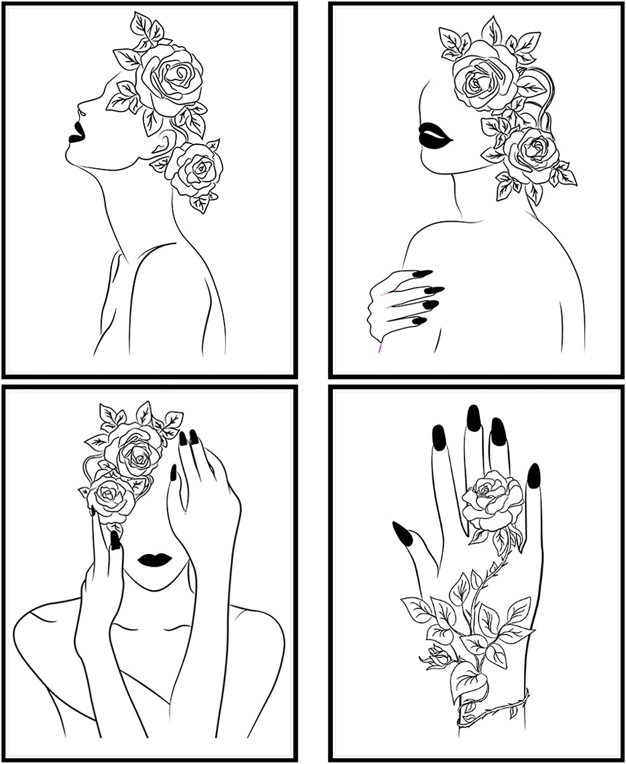 Modern 5th - Minimalist Line Art Prints (Set of 4 Unframed - 8 x 10 Inches) Woman and Rose Room Decor Art Prints, Minimal Drawing Wall Art Black and White Prints, Unframed